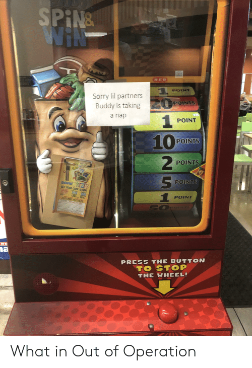 Sorry, Cool, and Stuff: SPIN&  WIN  #  HE-B  POINT  Sorry lil partners  POINTS  0  Buddy is taking  1  10  a nap  POINT  POINTS  POINTS  5  POINTS  RaongrRZES  GET YOUR COOL STUFF!  INSTANT  aCOLLECT  300  PCNTS  COLLECT  PRIZE!  POINT  500  PONTS  EUPE  poinTs  HE  a  PRESS THE BUTTON  TO STOP  THE WHEEL! What in Out of Operation