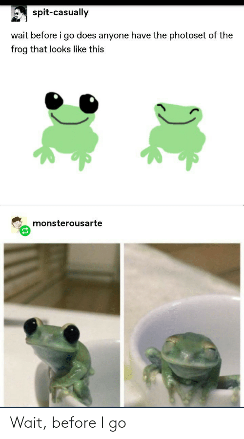I Go: spit-casually  wait before i go does anyone have the photoset of the  frog that looks like this  monsterousarte Wait, before I go