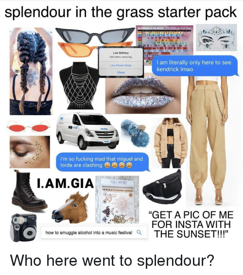 """Lorde: splendour in the grass starter pack  Low Battery  20% battery remaining.  I am literally only here to see  kendrick Imao  Low Power Mode  Close  i'm so fucking mad that miguel and  lorde are clashing肉肉肉肉  GIO TATTS  7""""GET A PIC OF ME  FOR INSTA WITH  how to smuggle alcohol into a music festivalQ Who here went to splendour?"""