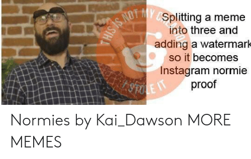 dawson: Splitting a meme  into three and  adding a watermarh  so it becomes  Instagram normie  proof Normies by Kai_Dawson MORE MEMES