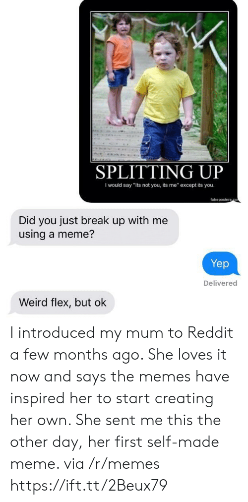 """Flexing, Meme, and Memes: SPLITTING UP  I would say """"Its not you, its me"""" except its you  fakeposters  Did you just break up with me  using a meme?  Yep  Delivered  Weird flex, but ok I introduced my mum to Reddit a few months ago. She loves it now and says the memes have inspired her to start creating her own. She sent me this the other day, her first self-made meme. via /r/memes https://ift.tt/2Beux79"""