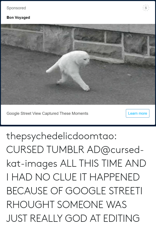 God, Google, and Tumblr: Sponsored  Bon Voyaged  Google Street View Captured These Moments  Learn more thepsychedelicdoomtao:  CURSED TUMBLR AD@cursed-kat-images  ALL THIS TIME AND I HAD NO CLUE IT HAPPENED BECAUSE OF GOOGLE STREETI RHOUGHT SOMEONE WAS JUST REALLY GOD AT EDITING