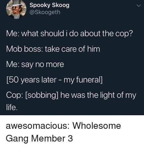 Life, Tumblr, and Gang: Spooky Skoog  @Skoogeth  Me: what should i do about the cop?  Mob boss: take care of him  Me: say no more  [50 years later - my funeral]  Cop: [sobbing] he was the light of my  life. awesomacious:  Wholesome Gang Member 3