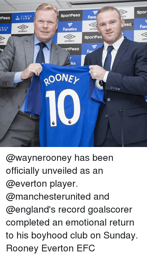 Fanatics: SportPea  Spor  USM FARM  Fana  ro  ICH  ARM  asa  umbro  Fanatics  umb  Fan  SportPes  ro  umbro  um  ortPesa  For  ics @waynerooney has been officially unveiled as an @everton player. @manchesterunited and @england's record goalscorer completed an emotional return to his boyhood club on Sunday. Rooney Everton EFC