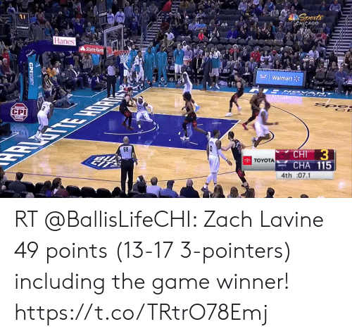 128i: Sports  CHICAGO  Hanes  State Farm  Walmart  SR  STE HOR  ARNING  СРI  Spe  CE  68  CHI 3  CНA 115  TOYOTA  4th :07.1  CPISECURITY RT @BallisLifeCHI: Zach Lavine 49 points (13-17 3-pointers) including the game winner!  https://t.co/TRtrO78Emj