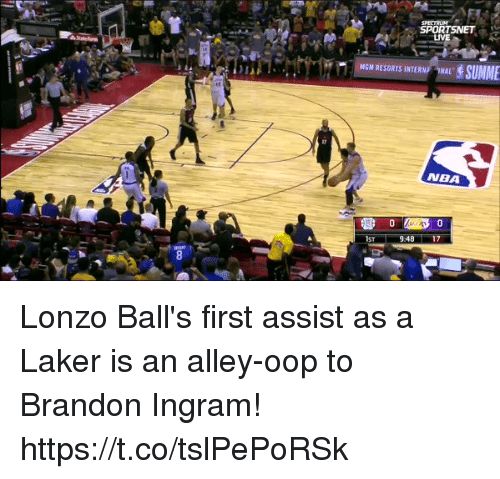 brandon ingram: SPORTSNET ,  LIVE  NGM RESORTS INTERN ONAL  NBA Lonzo Ball's first assist as a Laker is an alley-oop to Brandon Ingram! https://t.co/tslPePoRSk