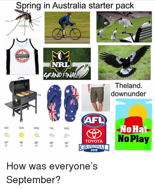 Memes, Toyota, and Australia: Spring in Australia starter pack  BINTANG  BALI  GRANDFINA  Theland.  downunder  NoHat  SAT  SUN  MON  TUE  WED.  TOYOTA  14°  6  18°  4°  22o  14°  23°  10°  8°  2018 How was everyone's September?
