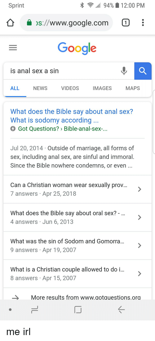 what does god say about anal sex