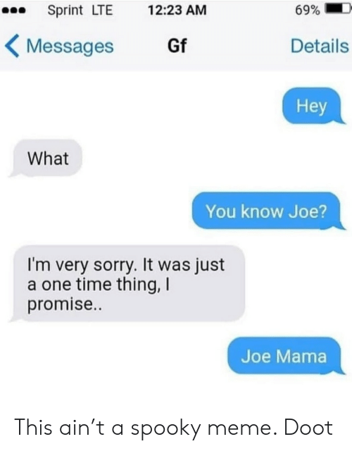 Meme, Sorry, and Sprint: Sprint LTE  69%  12:23 AM  Gf  Details  Messages  Hey  What  You know Joe  I'm very sorry. It was just  a one time thing, I  promise..  Joe Mama This ain't a spooky meme. Doot