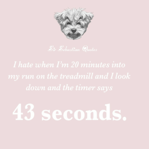 look down: Sr Sebastian Quotes  I hate when I'm 20 minutes into  my run on the treadmill and I look  down and the timer says  43 seconds.