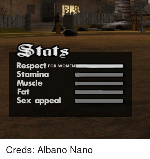 sex appeal: SStats  Respect FOR WOMEN  Staminda  Muscle  Fat  Sex appeal Creds: Albano Nano