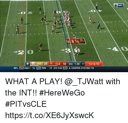 Inting: st&18  3 2  2 O  21CLE 10 3RD 1:30 20 1ST & 10  NFL!  OAK-  16t、GTEN  13 4TH 15:00  . A. COOPER: 8 YD REC TD WHAT A PLAY!  @_TJWatt with the INT!! #HereWeGo #PITvsCLE https://t.co/XE6JyXswcK