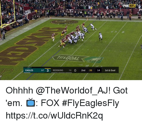 Ohhhh: ST& GOAL  8-7 3 REDSKINS 7-8  2nd :36 14 1st & Goal  EAGLES Ohhhh @TheWorldof_AJ!  Got 'em.  📺: FOX #FlyEaglesFly https://t.co/wUldcRnK2q