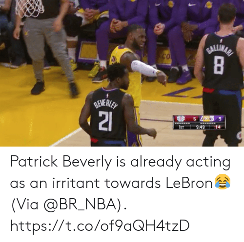 Lebrons: ST9:491 Patrick Beverly is already acting as an irritant towards LeBron😂  (Via @BR_NBA).  https://t.co/of9aQH4tzD