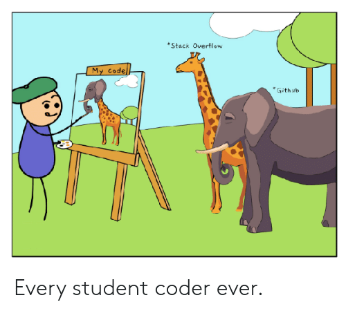 Github, Student, and Code: Stack Overflow  My code  Github Every student coder ever.