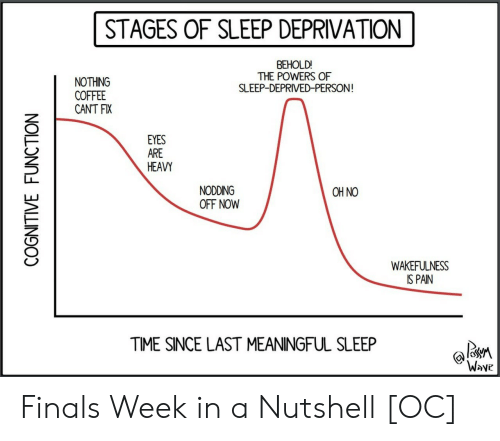 sleep deprived: STAGES OF SLEEP DEPRIVATION  BEHOLD!  THE POWERS OF  SLEEP-DEPRIVED-PERSON  NOTHING  COFFEE  CANT FIX  EYES  ARE  HEAVY  NODDING  OFF NOW  OH NO  WAKEFULNESS  IS PAIN  TIME SINCE LAST MEANINGFUL SLEEP  Wove Finals Week in a Nutshell [OC]