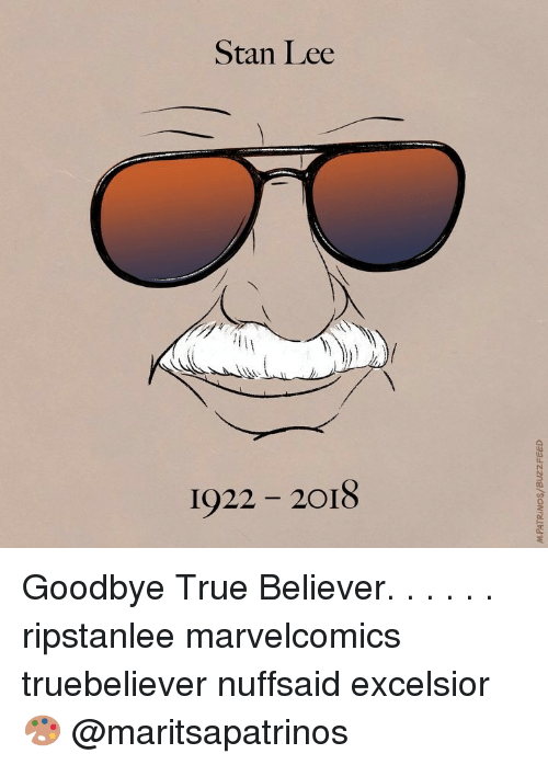 lls: Stan Lee  LLS  1922 2018 Goodbye True Believer. . . . . . ripstanlee marvelcomics truebeliever nuffsaid excelsior 🎨 @maritsapatrinos