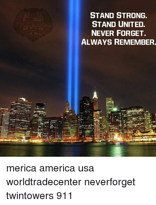 Stronge: STAND STRONG  STAND UNITED.  NEVER FORGET.  ALWAYS REMEMBER. merica america usa worldtradecenter neverforget twintowers 911