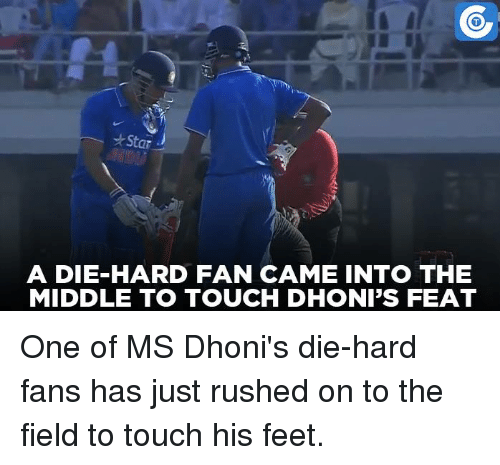 Memes, Rush, and The Middle: Star  A DIE HARD FAN CAME INTO THE  MIDDLE TO TOUCH DHONI'S FEAT One of MS Dhoni's die-hard fans has just rushed on to the field to touch his feet.