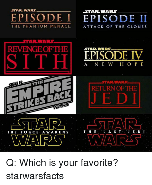 clone wars: STAR WARS  EPISODE I  EPISODE II  THE PHAN TOM MENACE  ATTACK OF THE CLONES  WARS,  AR REVENGE OF THE  STAR WARS  EPISODE IV  A NE W H O P E  THE  RETURN OF THE  STRIKES BACK  STAR  L A S T  JE.D I  T. HE  THE FOR CE. A w A KEN S  MARS Q: Which is your favorite? starwarsfacts