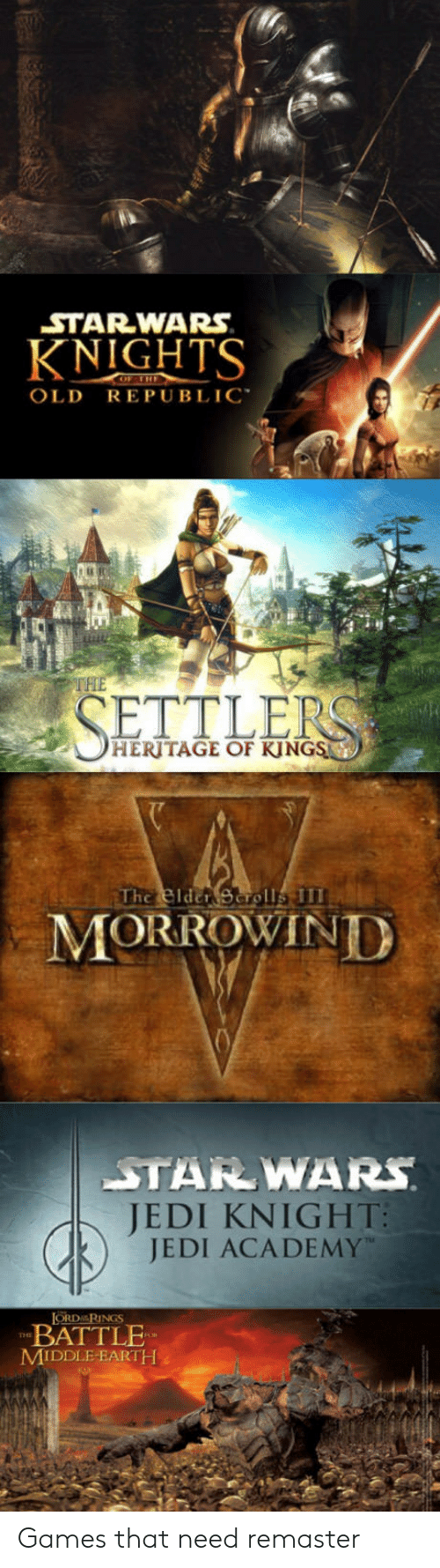 "middle earth: STAR-WARS  KNIGHTS  OLD REPUBLIC""  THE  HERITAGE OF KJNGS  MORROWIND  JEDI KN 