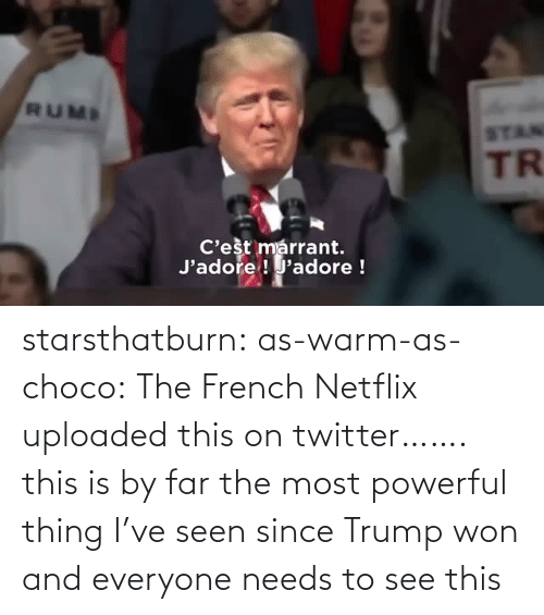 French: starsthatburn: as-warm-as-choco:  The French Netflix uploaded this on twitter…….   this is by far the most powerful thing I've seen since Trump won and everyone needs to see this