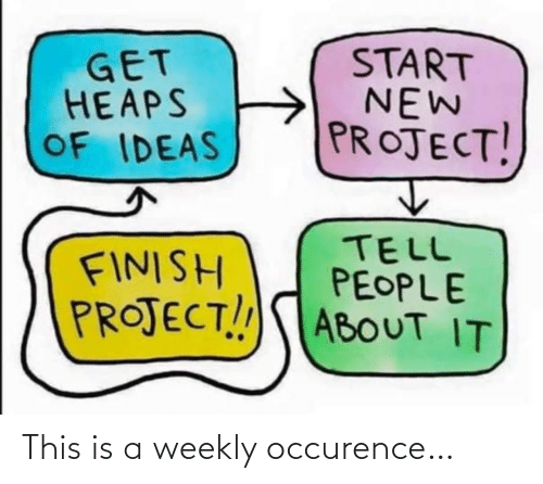 Finish: START  NEW  PROJECT!  GET  HEAPS  OF IDEAS  TELL  PEOPLE  PROJECT!!ABOUT IT  FINISH This is a weekly occurence…