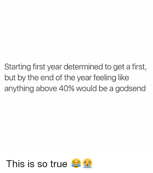 godsend: Starting first year determined to get a first,  but by the end of the year feeling like  anything above 40% would be a godsend This is so true 😂😭