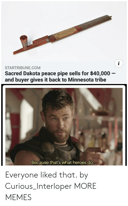 Dank, Memes, and Target: STARTRIBUNE.COM  Sacred Dakota peace pipe sells for $40,000 -  and buyer gives it back to Minnesota tribe  Because that's what heroes do. Everyone liked that. by Curious_Interloper MORE MEMES