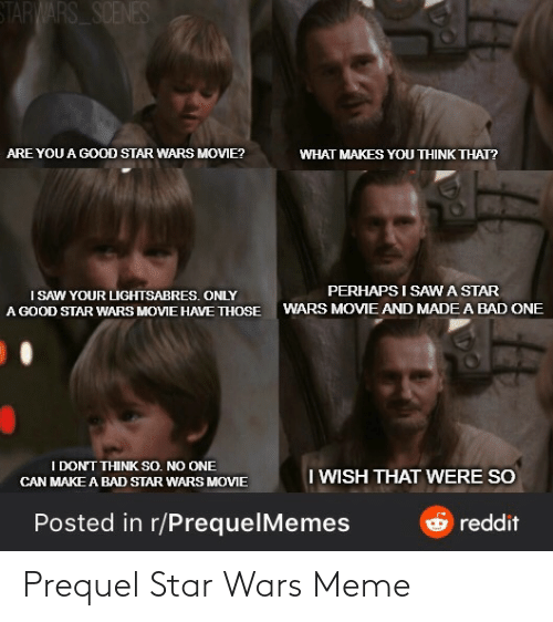 Prequelmemes: STARWARS SCENES  ARE YOU A GOOD STAR WARS MOVIE?  WHAT MAKES YOU THINK THAT?  PERHAPS I SAWA STAR  I SAW YOUR LIGHTSABRES. ONLY  A GOOD STAR WARS MOVIE HAVE THOSE  WARS MOVIE AND MADE A BAD ONE  I DON'T THINK SO. NO ONE  I WISH THAT WERE SO  CAN MAKE A BAD STAR WARS MOVIE  Posted in r/PrequelMemes  reddit Prequel Star Wars Meme