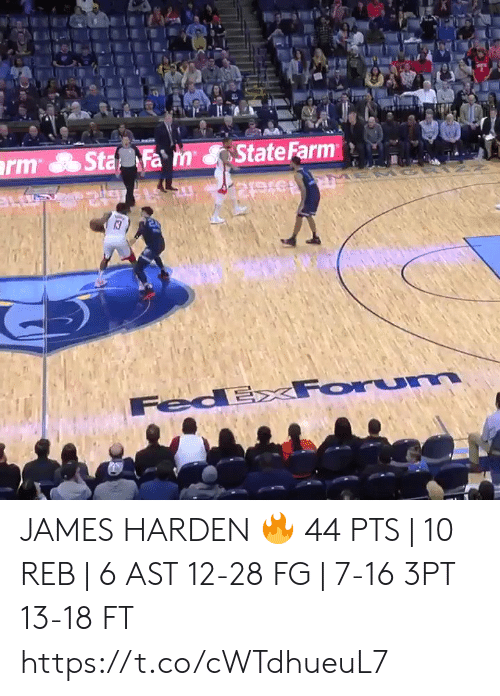harden: State Farm  rm Sta Fa m  13  FedExxForum JAMES HARDEN 🔥  44 PTS | 10 REB | 6 AST 12-28 FG | 7-16 3PT 13-18 FT    https://t.co/cWTdhueuL7