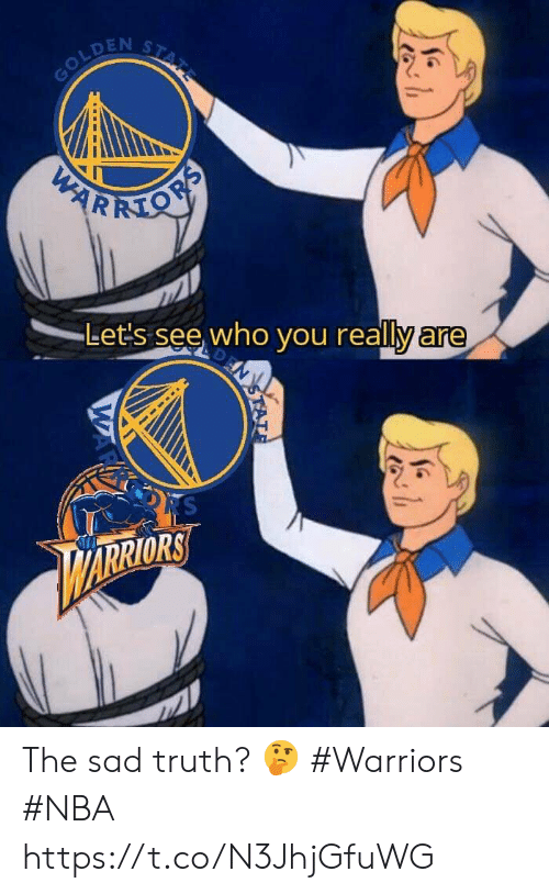Warriors: STATE  GOLDEN  PARKMON  Let's see who you really are  N  RS  ARRIORS  STAT  WAR The sad truth? 🤔  #Warriors #NBA https://t.co/N3JhjGfuWG