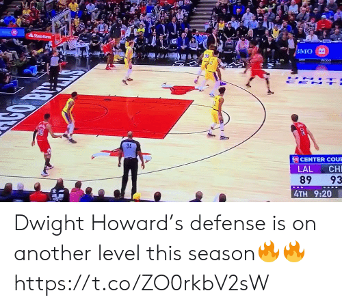 memes: StateFarm  ВМО  UN  CE N  CENTER COUE  LAL  CH  89  93  4TH 9:20 Dwight Howard's defense is on another level this season🔥🔥 https://t.co/ZO0rkbV2sW
