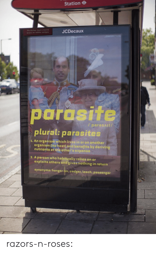 Tumblr, Blog, and Http: Station e  JCDecaux  parasite  plural: parasites  / paresAIt/  1. An organism which lives in or on another  organism lits host] and benefits by derivin  nutrients at the other's expense  2. A person who habitually relies on or  exploits others and givèshothing in return  synonyms: hanger-on, cadger, leech, passenger razors-n-roses: