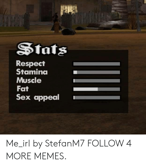 Dank, Memes, and Reddit: Stats  Respect  Stamina  Muscle  Fat  Sex appeal Me_irl by StefanM7 FOLLOW 4 MORE MEMES.