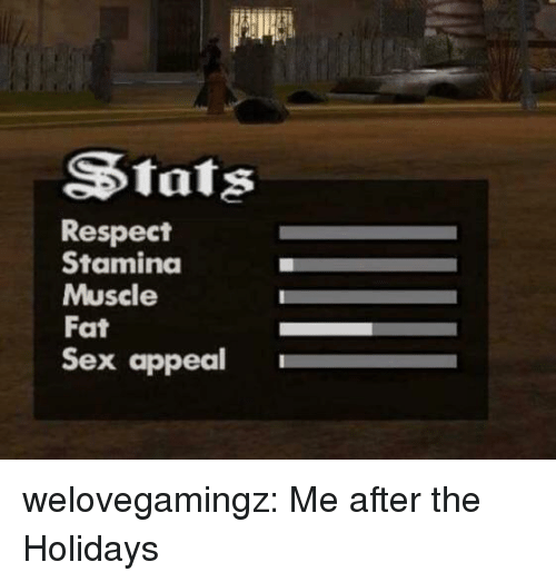 Respect, Sex, and Tumblr: Stats  Respect  Staminda  Muscle  Fat  Sex appeal welovegamingz:  Me after the Holidays