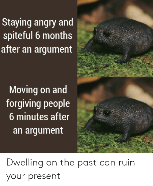 Angry, Can, and Months: Staying angry and  spiteful 6 months  after an argument  Moving on and  forgiving people  6 minutes after  an argument Dwelling on the past can ruin your present