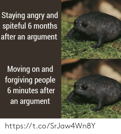 Memes, Angry, and 🤖: Staying angry and  spiteful 6 months  after an argument  Moving on and  forgiving people  6 minutes after  an argument https://t.co/SrJaw4Wn8Y