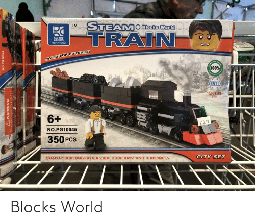 Future, Steam, and Train: STEAM  O Blocks Worli  TM  TRAIN  品格  mindbox  INSPIRE FOR THE FUTURE!  ONontors  100%  EN71  ASTM  F963  6+  $13.99  NO.PG10045  350 PCS  CITY SET  QUALITY BUILDING BLOCKS BUILD DREAMS AND HAPPINESS  NO.PG10044  AWARNING:  tte eaute be  This product contains tiny parts Never  WARNING  Environm  safe.  toxic  Materials Blocks World