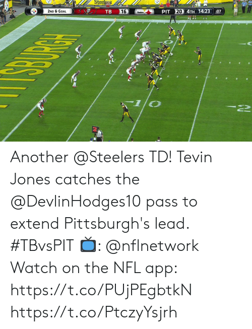Extend: Steel  TB  20 4TH 14:23  2ND & GOAL  16  PIT  :07  Steelers Another @Steelers TD!  Tevin Jones catches the @DevlinHodges10 pass to extend Pittsburgh's lead. #TBvsPIT  📺: @nflnetwork Watch on the NFL app: https://t.co/PUjPEgbtkN https://t.co/PtczyYsjrh