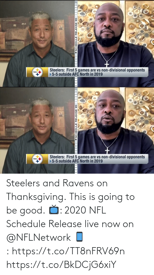 Schedule: Steelers and Ravens on Thanksgiving.  This is going to be good.  📺: 2020 NFL Schedule Release live now on @NFLNetwork 📱:https://t.co/TT8nFRV69n https://t.co/BkDCjG6xiY