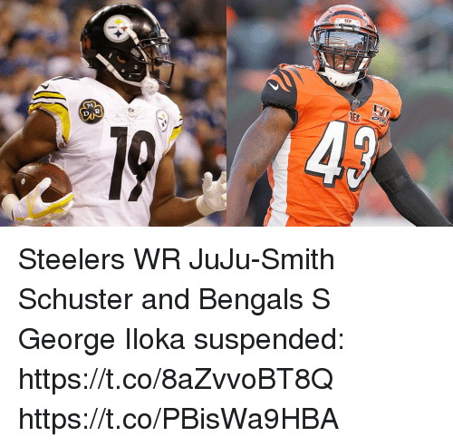 Memes, Bengals, and Steelers: Steelers WR JuJu-Smith Schuster and Bengals S George Iloka suspended: https://t.co/8aZvvoBT8Q https://t.co/PBisWa9HBA