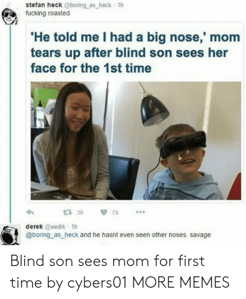 Stefan: stefan heck @boring as heck 1h  fucking roasted  He told me I had a big nose,' mom  tears up after blind son sees her  face for the 1st time  30 70  derek @eedrk 1h  @boring as heck and he hasnt even seen other noses. savage Blind son sees mom for first time by cybers01 MORE MEMES