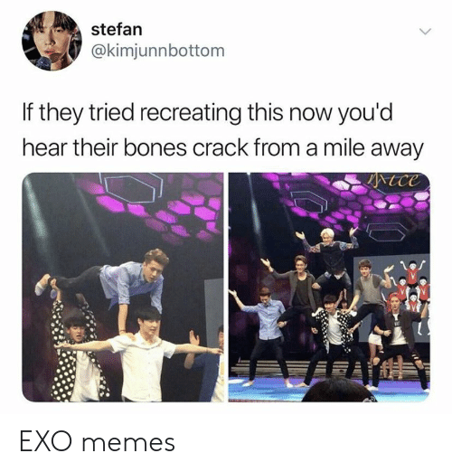 Bones, Memes, and Exo: stefan  @kimjunnbottom  If they tried recreating this now you'd  hear their bones crack from a mile away  tce EXO memes