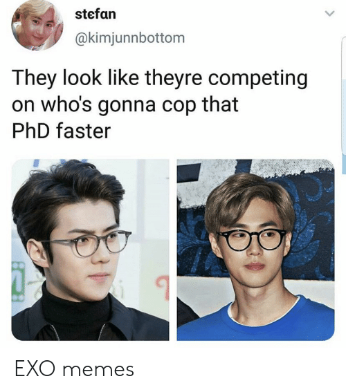 Stefan: stefan  @kimjunnbottom  They look like theyre competing  on who's gonna cop that  PhD faster EXO memes
