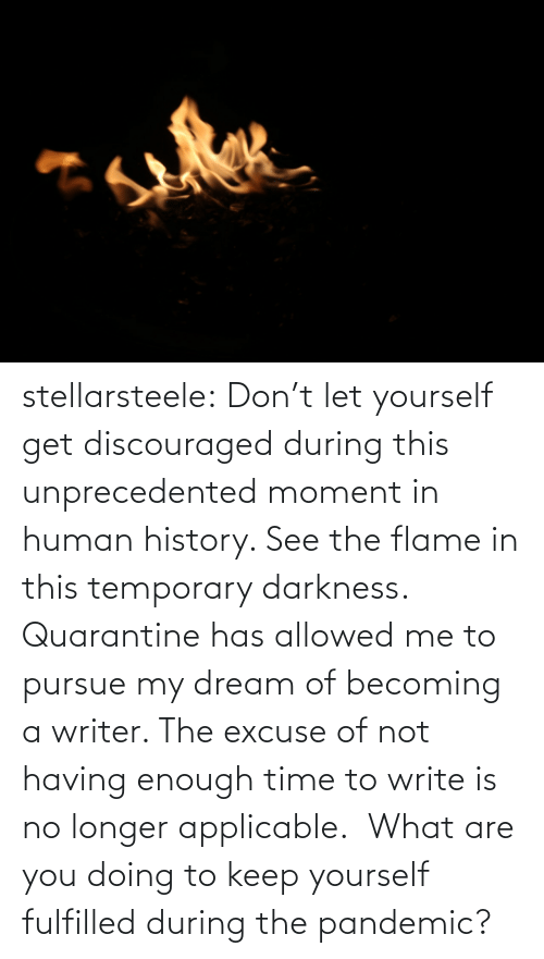 Allowed: stellarsteele: Don't let yourself get discouraged during this unprecedented moment in human history. See the flame in this temporary darkness.  Quarantine has allowed me to pursue my dream of becoming a writer. The excuse of not having enough time to write is no longer applicable.  What are you doing to keep yourself fulfilled during the pandemic?