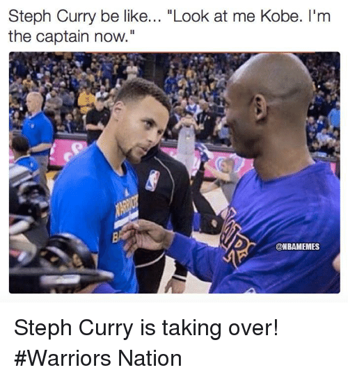 """Im The Captain Now: Steph Curry be like  """"Look at me Kobe. I'm  the captain now.""""  @NBAMEMES Steph Curry is taking over! #Warriors Nation"""