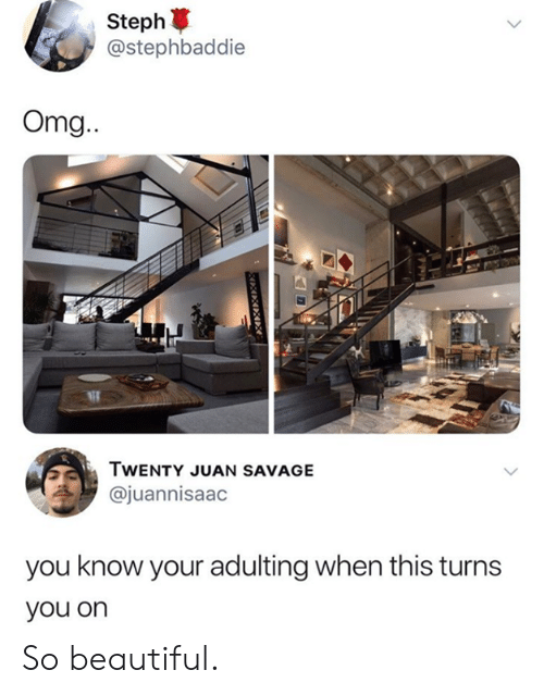 Steph: Steph  @stephbaddie  Omg.  NE  TWENTY JUAN SAVAGE  @juannisaac  you know your adulting when this turns  you on So beautiful.