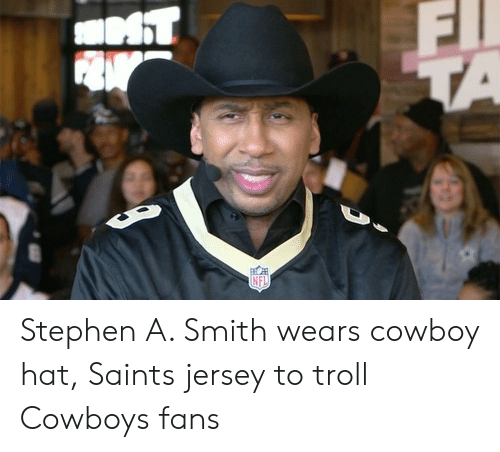 23754772a Dallas Cowboys, New Orleans Saints, and Stephen: Stephen A. Smith wears  cowboy