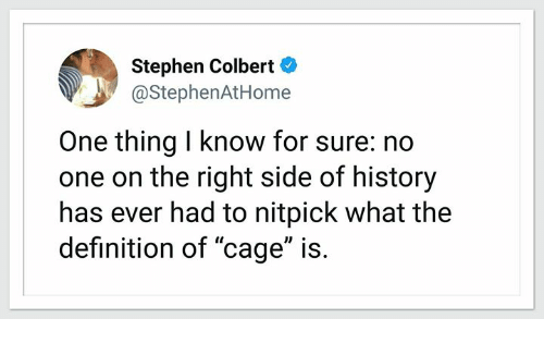 """Memes, Stephen, and Definition: Stephen Colbert  @StephenAtHome  One thing I know for sure: no  one on the right side of history  has ever had to nitpick what the  definition of """"cage"""" is."""